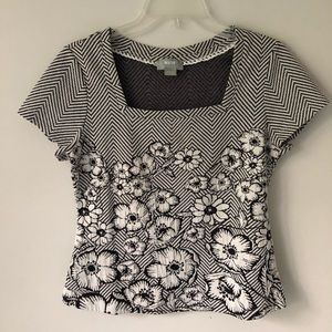 MAEVE by Anthropologie B&W Floral/Striped knit top